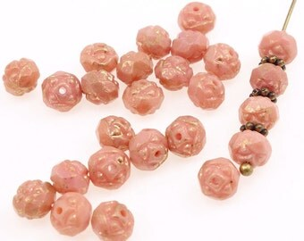 25 Small Rosebud Beads 6mm x 5mm Opaque Pink Marbled Gold Flower Beads - Czech Glass Light Rose Pink Beads