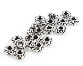100 Silver Beads SMALL TURKISH Spacers Beads by TierraCast Pewter - Antique Silver Heishi Beads Bali Beads Silver Spacers (PS57)