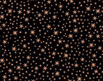 Stars Copper Black Metals Quilting Treasures Fabric 1 yard