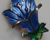 David Andersen Sterling Silver Brooch Norway Blue Green Guilloche Enamel Flower Figural Pin 1970s Vintage Fashion Designer Jewelry Gift