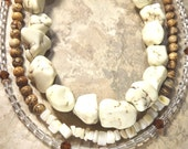 Boho Chic Ivory Cream and Caramel Brown Gemstone Triple Strand Three in One Necklace