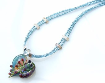 ARTIST Bead SET -  Frog on Heart Pendant Layered Double Strand Necklace and Earrings
