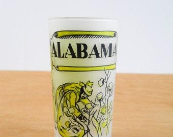 Vintage Souvenir Glass • Alabama State Glass • Hazel Atlas State Souvenir