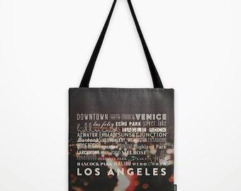 Los Angeles tote bag, market tote, black bag, typography, school bag, LA neighborhoods, DTLA, Venice, Santa Monica, Hollywood, California