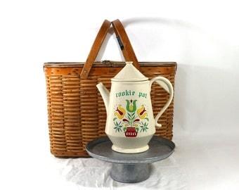 Dutch Folk Cookie Jar, Teapot Shaped Storage Jar, Vintage McCoy Ceramic