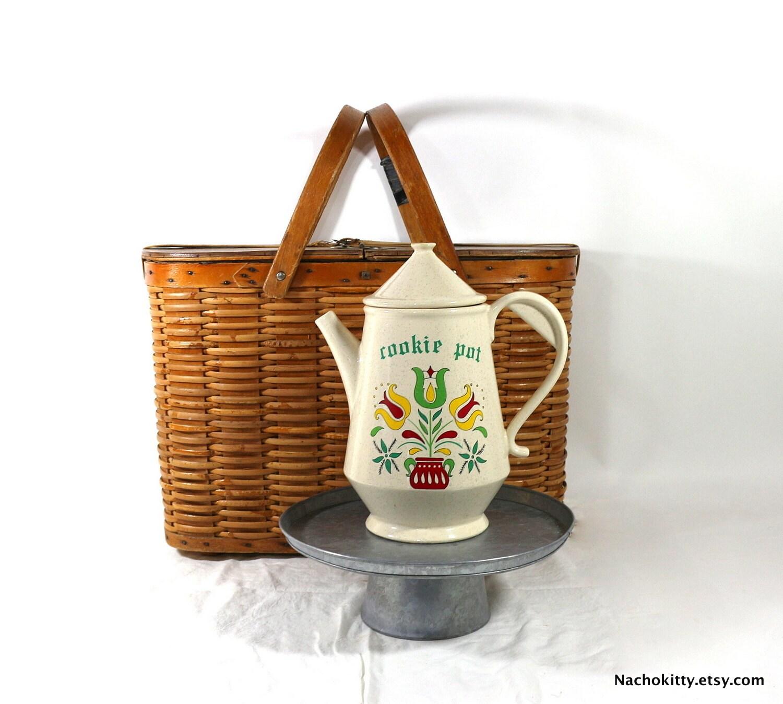 Dutch Folk Cookie Jar Teapot Shaped Storage Jar By Nachokitty