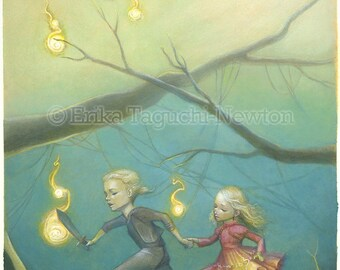 "Princess Bride 9x12 Fine Art Print , Princess Bride Tribute Painting, Buttercup and Wesley Art, ""Through the Fire Swamps"""