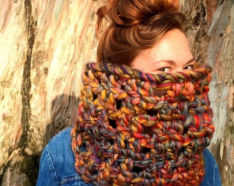 Colorful Cowl Scarf. Chunky / Funky / Rainbow / SALE!