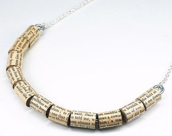 Shakespeare Jewelry- Shakespeare Upcycled Paper Bead Necklace, Paper Bead Jewelry, Book Lover Gift, Paper Jewelry by Tanith Rohe