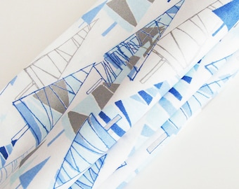 Geometric Trees Cotton Napkins / Set of 4 / White, Blues, & Silver Mid-Century Retro Christmas DIning / Unique Eco-Friendly Gift Under 50