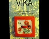 Square Ceramic Button: Red-Orange Flowers in a Hot Red Frame