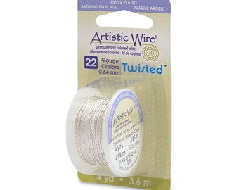 Artistic Wire Twisted 22 Gauge Tarnish Resistant Silver 43122 Dispenser 4yd Round Wire, Jewelry Wire, Craft Wire, Silver Plated Wire