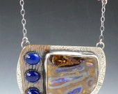 Large Lapis and Boulder Opal Necklace, mixed metal, boulder opal necklace, sterling silver, blue brown silver, tribal