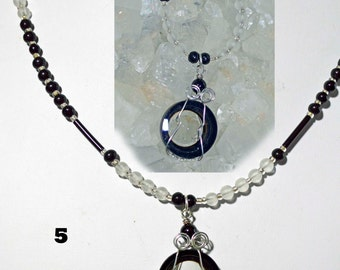 Camera Lens necklace pendant glass vintage lens wirewrapped beaded your choice of style and color