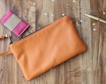Large Leather Clutch, Handmade Orange Leather Wristlet, Oversized Wristlet, Leather Cosmetic Bag, Evening bag, Ladies Formal Clutch,