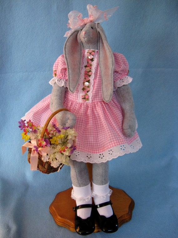 Cloth Doll E-Pattern 19inch Springtime Girl Easter Bunny