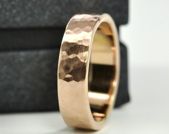 Rose Gold Wedding Band, 18K Gold Ring, 6mm Wide by 1.75mm Thick, Hammered Matte, Sea Babe Jewelry