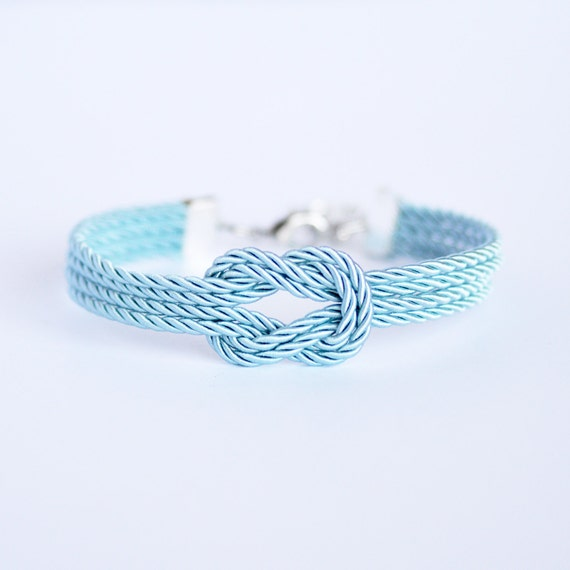 Blue Nautical String Lights : Light blue forever knot nautical rope bracelet with silver