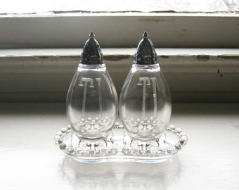 "Elongated 4 3/4"" Tall Imperial Glass Candlewick Salt Pepper Shakers Monogrammed T I w Matching Tray Underplate Dish"