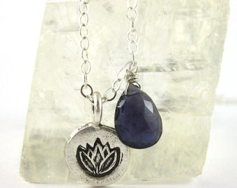 Lotus Pendant Necklace - Iolite Pendant and Lotus Charm - Silver Lotus Necklace - Charm Jewelry