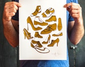 Vintage style Golden Shoes Silk Screen Print with gold foil, and black ink