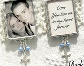 Photo Bouquet Charm -Quote on back- Sterling Silver Cross and white or blue Pearls - Bridal Keepsake - Something Blue