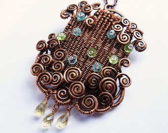 Woven Copper Pendant with Peridot Apatite Citrine Spirals