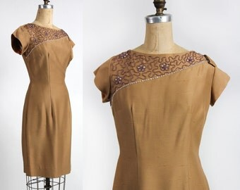 Gold Dress with Beading . Vintage Wiggle Dress