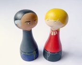Custom granparents portrait wedding anniversary - Personalized - FREE SHIPPING  Wooden art doll hand painted red blond grey