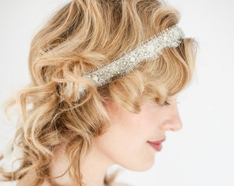 Davy - Headband - bridal, rhinestone, crystal, veil, wedding, tiara, head piece, pearls