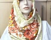 Beige,orange cotton infinity scarf, head scarf, shoulder scarf, beige scarf, orange scarf,flowers
