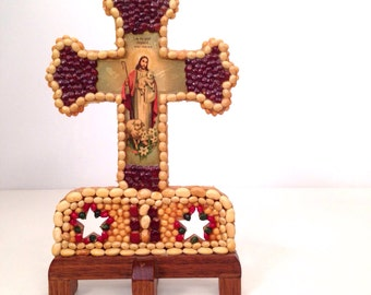 vintage folk art cross - handmade wooden religious icon statue
