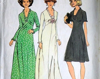Simplicity 6667 Vintage 70's Sewing Pattern, Misses' Dress In Two Lengths, Size 10, 32 1/2 Bust, Look Slimmer Pattern