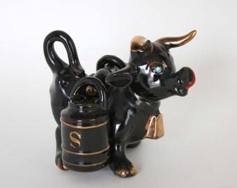 Vintage Bull with Yoke and Barrels Salt and Pepper Shaker Set