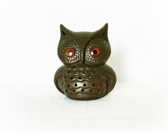 Vintage 70s Fat Owl Luminary Candle Holder Brown Figurine Shelf Art