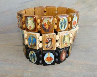 Wooden Saints Bracelet Wood Dark Black Brown Light Jesus Christ Mary St. Catholic Beads Stretch