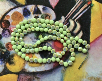 Green Glass Beads Vintage German Beads, Glass Opaque Beads AB Mint Green Beads Tablets, Loose Beads for Jewelry Making Beads Crafts Supplies