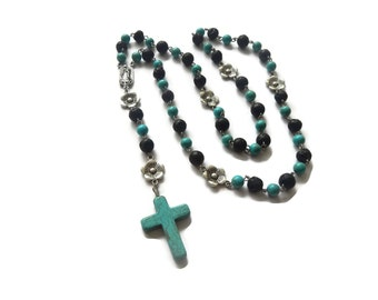 Earth Fire – Blue/Black Mexican Rosary Beads Necklace – Blue Howlite/Black Lava/Silver – Virgin of Guadalupe – Mishimon Designs