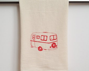 Flour Sack Dish Towel - Camper hand printed in raspberry red - 100% cotton tea towel