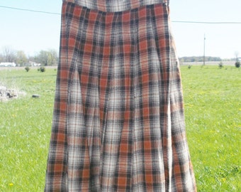50s 60s Vintage Plaid Wool Skirt Oranges and Browns 24 Inch Waist XXS