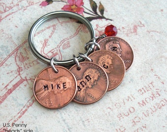 Penny Charm Pendant.. Includes 1 word .. U.S. Coins nickel dime  .. hammered coin, custom phrase, date, name stamped. Love Anniversary kids