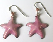 Starfish earrings, pierced, copper, enamel, earrings, sea, cruise, beach, pink, lead free enamel, sterling silver, free domestic shipping.