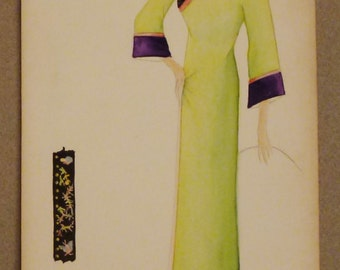 FASHION GOUACHE ORIGINAL Drawing 1940s gouache Asian style dress 10 x 6  inches chartreuse purple