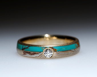 Mokumé Gane Turquoise and Diamond Ring