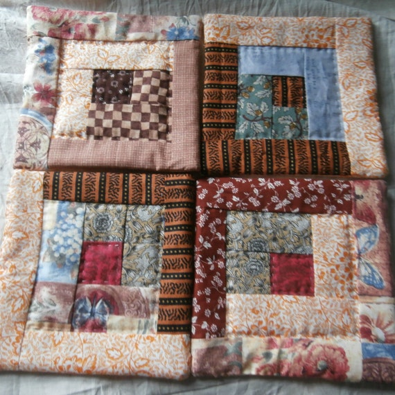 LOG CABIN QUILT Mug Rug Set Doilys Hand Quilted Fall Colors
