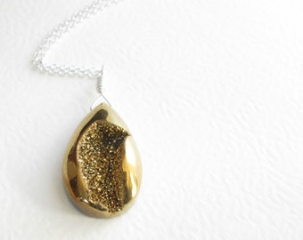 Bright Gold Druzy Necklace, Metallic Geode Pendant, Sterling Silver New Years Eve Jewelry