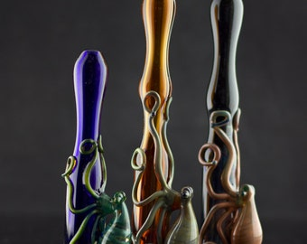 Octopus Glass Pipe / Large Chillum / Glass Bat Pipe / Heady Glass Pipe / Hand Pipe / Pocket Pipe / You Pick the Color / Made to Order
