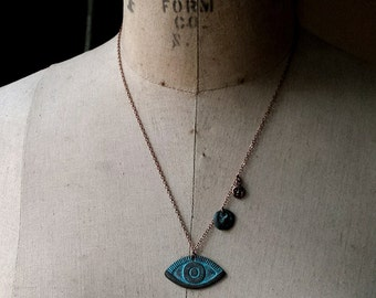 Eye Amulet Pendant, Evil Eye, All-Seeing Eye Necklace, Third Eye, Eye Symbol, Egyptian Mythology, Green Verdigris, Copper Patina, Gift Box
