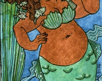 Fat girl Green Tail and fish mermaid  5x7 print