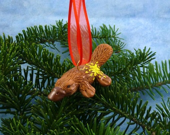 Xmas Platypus Ornament with Starburst Tush - Handmade Christmas Decoration